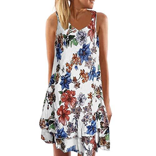 Yvelands Damen Tank Kleid Sommer V-Ausschnitt ärmelloses Boho Kleid gedruckt Beach Party Minikleid(Weiß,XXXL) -