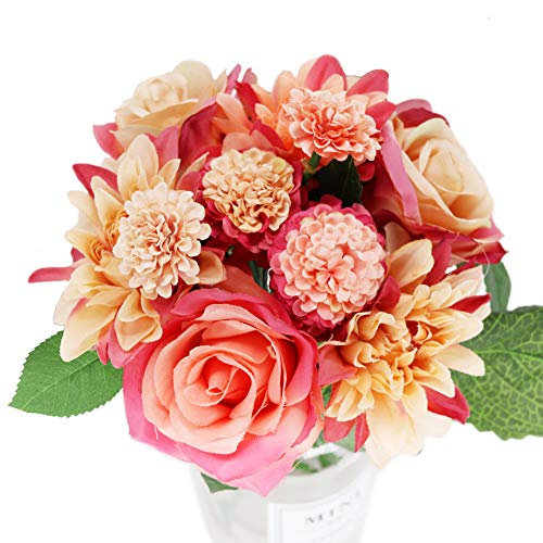 Künstliche Blumen in Bulk Brautstrauß Halter, Seidenblumen in Bulk Fake Hochzeit Braut Bouquet Indoor Home Party Dekoration 8 Kopf Marokkanisch 1 Beam Sunrise Image (Dekorationen Bulk In)