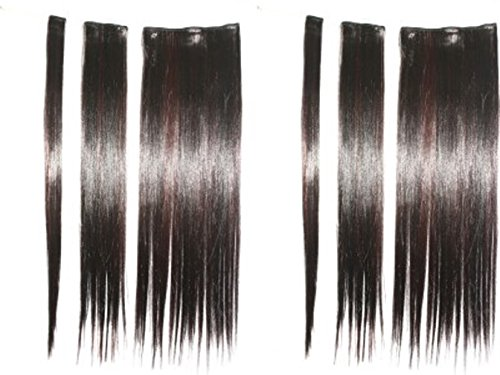 Artifice 6 Pcs 14 Clips Based 22 inch High Temperature Synthetic Fibre Hair Extension (Maroon Highlighted)