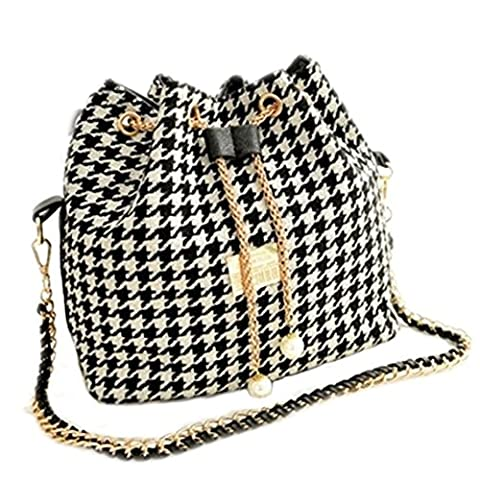 DELEY Womens Houndstooth Check Tote Handbag Ladies Shoulder Chain Drawstring