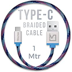 iVoltaa Pixie Type-C to USB Premium Nylon Braided (1 Meter/ 3.3 Feet) Cable - With Quick Charging (2.4 Amp) and High Speed Data Sync (Kyber Blue)