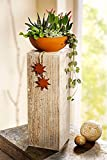 Unbekannt Pflanzsäule aus Holz Naturholz + Pflanzschale Rost Optik Dekoration Garten Haus