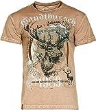 Marjo T-Shirt Gaudibursch Trachtenshirt Used-Look Oil-Washed Hirsch (braun, M)