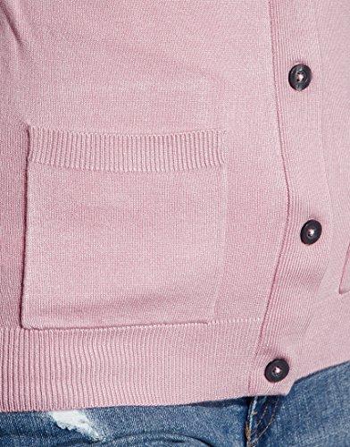 Vincenzo Boretti Damen Strickjacke Rundhals Ausschnitt R-Neck modern elegant chick edel weich Cardigan Strick-Pullover aufgesetzte Taschen Altrosa
