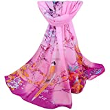 Gemini_mall Womens Lady Flower Printed Soft Chiffon Scarf Stole Scrawl Wrap (One Size, Purple Pink)