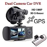 BoomBoost 2.7 'TFT LCD de doble cámara DVR del coche R300 X3000 grabadora de vídeo GPS 3D G-Sensor Cam DVR coche