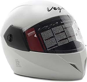 Vega Cliff Full Face Helmet White (Medium) - The Best Motor Bike Helmets For Men & Women