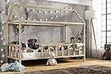 Hausbett 90x200 cm Kinderhaus Kinderbett mit Rausfallschutz Sicherheitsbarrieren Natur Haus Holz Bett - Made in Germany