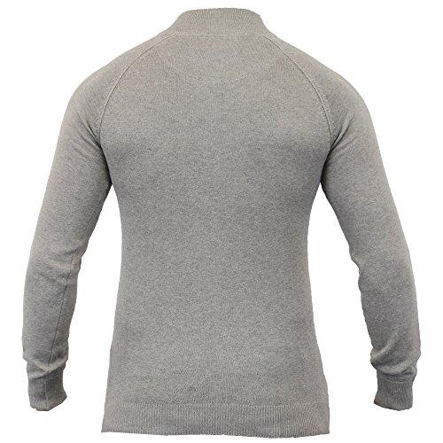 Mens Jumper Fadenscheinig Gestrickte Spitze Pullover-pullover Hochkragen Reißverschluss Winter Neu Grau - IMU032PKB
