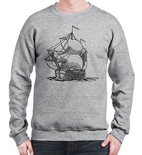 Sweatshirt da uomo con stile vintage con nave sailer stencil stampa. XX-Large, Grigio