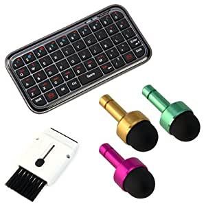 BIRUGEAR Bluetooth Wireless Mini Keyboard + 3pcs 2in1 anti-dust Earphone jack Mini Stylus + Mini Brush for Asus New Transformer Pad Infinity, Fonepad Note FHD 6, MeMo Pad FHD 10, MeMO Pad HD 7 ME173, MeMO Pad Smart 10 ME301T, FonePad ME371MG, VivoTab Smart ME400, PadFone 2, VivoTab RT TF600T, Transformer Pad Infinity TF700T, Transformer TF300, Transformer Prime TF201, Eee Pad Transformer TF101 and More!