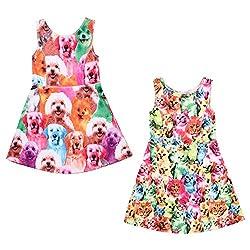 BoodTag Girls Sleeveless Dress Summer Princess Dress Printed Animal Cartoon for Babies Kids