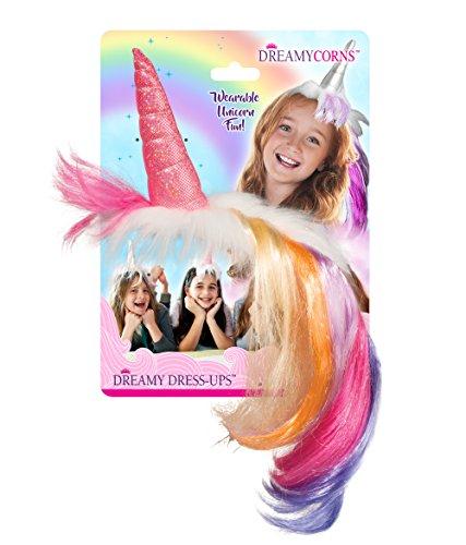 Dreamycorns - Hochwertig verarbeitete MAGISCHE EINHORN Kopfbedeckung / Horn / Haarband / Kostüm Zubehör für Kinder - perfekt zu Einhorn - Themen - Geburtstagsfeiern / Karneval - oder Kostümparty (pink mit regenbogen - farbener Mähne) (Rosa T-shirt Barbie)