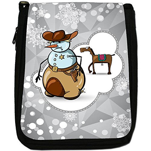 Holiday a forma di fiocco di neve di stagione media-Borsa a tracolla in tela, colore: nero, taglia: M Nero (Snowman Cowboy Sherriff Badge)