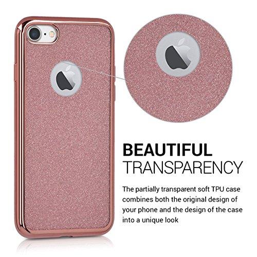 kwmobile Étui en TPU silicone élégant pour Apple iPhone 7 / 8 en or rose métallique Paillète avec cadre or rose