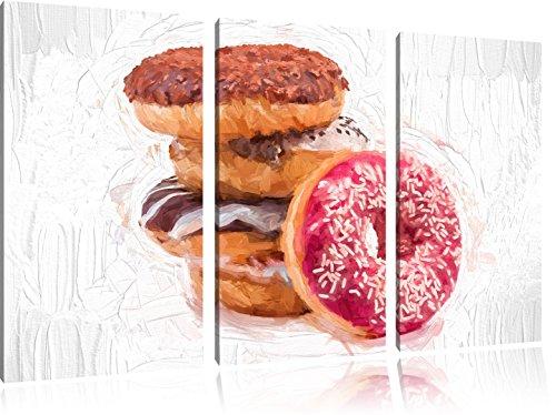 Ciambelle dolci pennello effetto immagine Canvas 3 PC 120x80 immagine sulla tela, XXL enormi immagini (Fragola Caffè Aromatizzato)