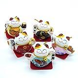 5er-Set Chinesische Glückskatzen Deko Glücksbringer Winkekatzen aus Keramik mit chinesische Aufschrift