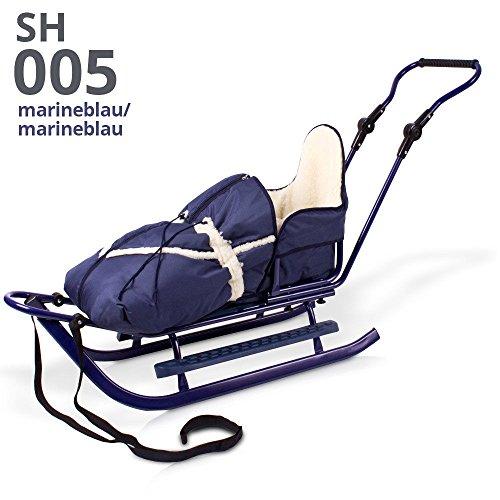 Unbekannt Schlitten Rodelschlitten Babyschlitten mit Rückenlehne, Fußsack und Schiebestange (blau)