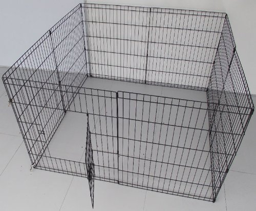 BUNNY BUSINESS 8 Panel Playpen Suitable for Rabbits/Guineas/Dogs and Cats, Small, Black 2