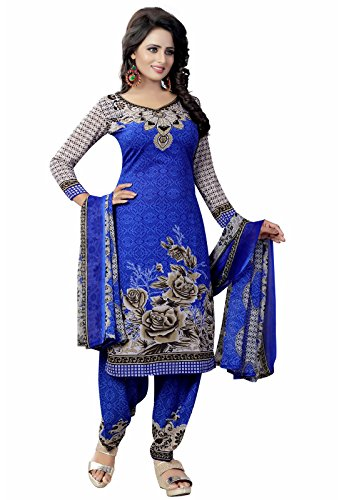 Ishin Synthetic Blue Party Wear Wedding Wear Casual Daily wear Festive Wear Bollwood New Collection Printed Latest Design Trendy Unstitched Salwar Suit Dress Material (Anarkali/Patiyala) With Dupatta