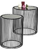 Beistelltisch Wire Black 2er Set, Schwarz, runder, moderner Glastisch, kleiner Couchtisch, Kaffeetisch, Nachttisch, (H/B/T) 42,5xØ32,5cm & 45xØ44cm