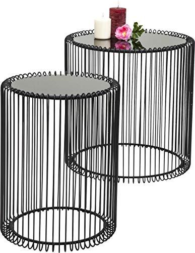 KARE Design Beistelltisch Wire Black 2er Set, runder, moderner Glastisch, kleiner Couchtisch, Kaffeetisch, Nachttisch, Schwarz (H/B/T) 42,5xØ32,5cm & 45xØ44cm