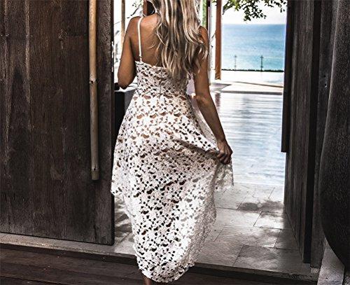 Femmes Sexy col V manches Slim Fit dentelle ajourée Crochet Robe irrégulière Blanc