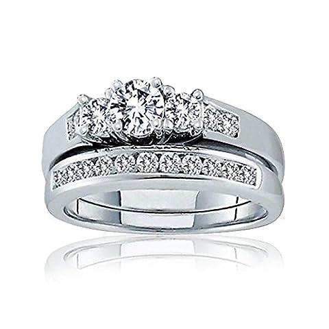 Silver Past Present Future CZ Engagement Wedding Ring Set