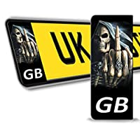 2 x Vinyl GB Badge Car Number Plate Skull Skeleton Self-adhesive Stickers Decals QV 5