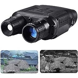 Vision Nocturne Jumelles avec TFT Écran LCD, Large Visuel Angle HD Numérique Infrarouge Chasse Jumelles Portée avec 2 Niveaux Zoom - Noir