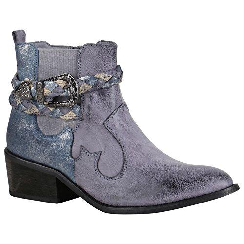 n Stiefeletten Cowboy Boots Western Stiefel Metallic 151742 Blau Schnallen 40 Flandell (Western-stiefel Für Damen Blau)