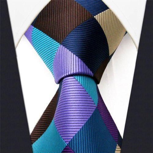 Intrepid Corporate Elite Sky Blue, Blue , Brown and Purple Checked Pattern Men's Necktie Tie 100% Silk Jacquard Handwoven Woven by Intrepid Blue Woven Tie