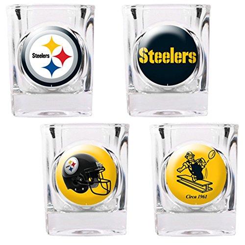 Great American NFL Pittsburgh Steelers Vier Stück Quadratisch Schnapsglas Set (Individuelle Logos)