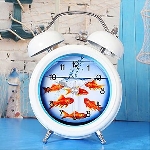 DIDADI Alarm clock Stilvolle und innovative kleine Goldfische alarm Aquarien, die klingeln, wenn ein Metall Schreibtisch Uhren Wecker Nachtmodus der Uhr mute Nacht Licht 12 cm