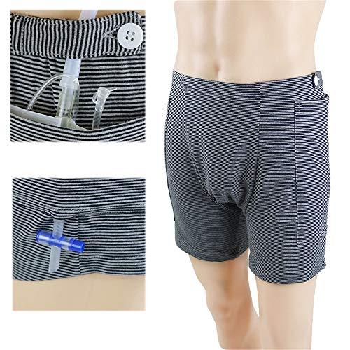 DYHQQ Inkontinenzpflege Hosen Katheter Unterwäsche für ältere Menschen, Urin Drainage Bag Hosen Bauchoperationen Patienten, Stoma Drainage Bag Pflege Kleidung,Men,XL -