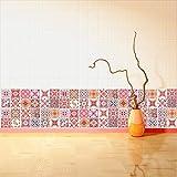 Walplus Wandaufkleber ablösbar selbstklebend Wandkunst Aufkleber Vinyl Wohndeko DIY Wohnzimmer Schlafzimmer Küche Dekor Tapete Geschenk Marokkanische rosarot Mosaik Kachel - 10 cm x 10 - 24 stk.