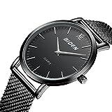 Uhr für Männer Armbanduhren Jieuohua Einfaches Design Uhren Schwarz Legierung Gurt Spezial und Cool mit Wasserdicht für Weihnachten