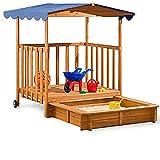 Sandkasten mit Dach XL Spielveranda Holz Spielhaus Sonnenschutz Deckel Sandbox