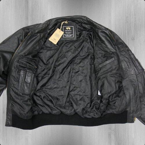 Alpha Industries Lederjacke CWU Leather black – schmal und kurz geschnitten - 5