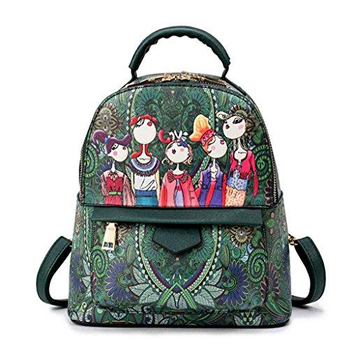 Z&YF Schultertaschen Rucksack Handtasche Drucken beiläufige Tasche Verstellbarer Schulterriemen Rucksack Green
