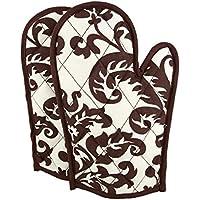 Set di 2tovaglioli di cotone stampato guanti da forno trapuntato Cooking Gloves, OG02–9009, cioccolato, 20,3x 30,5cm