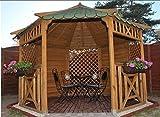 Achteckiger Garten-Pavillon aus Holz mit Schindeln–verschiedene Farben!Durchmesser 3,5m; perfekt für Whirlpools., holz, Green Shingles, 12 x 12