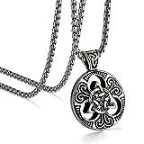 JewelryWe colgante collar hombre Celtic celta nudo Triqueta cadena 56cm acero inoxidable Fantasía joyas color negro con bolsa regalo