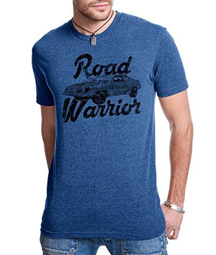 Crazy Dog Tshirts - Road Warrior T Shirt Cool Vintage Movie Classic Car Racing Tee (Blue) - XL - Herren - XL