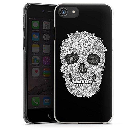 Apple iPhone 8 Tasche Hülle Flip Case Totenkopf Skull Blumen Hard Case transparent