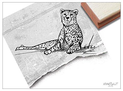 el Gepard Zeichnung - Bildstempel Tierstempel Schule Beruf, Karten Servietten Basteln Design Kunst Deko - von zAcheR-fineT (groß ca. 58 x 102 mm) ()