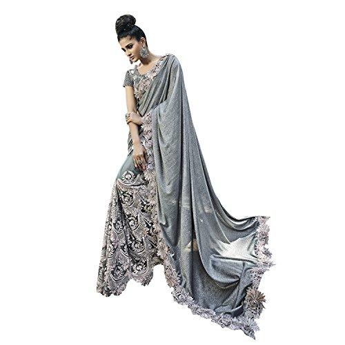 Takshaya Wedding Wear Grey Shimmer Digital Net Silk Saree