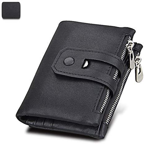 Leder Retro Geldbörse schwarz 9.4cm * 12.1cm * 2.7cmRobustes doppeltes Falten - Visitenkartenhalter - Münztasche - Box usw. für mehrere Zwecke -