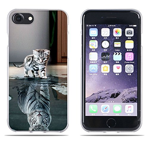 Fubaoda iPhone 7Hülle,iPhone 8 Hülle,[Katze Wird Tiger] Anti-Dropping PC Handy-Tasche Back-Cover Ultra Slim Soft Silikon Transparent Designs Schutzhülle für iPhone 7/8