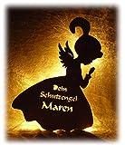 Schlummerlicht24 Led Lampe Nachtlicht Schutzengel mit Namen, Engel als Geburtsgeschenk Taufgeschenk Taufe Geburt Kommunion Mut Geschenke für Baby Mädchen Junge Frau Mann Freund Freundin